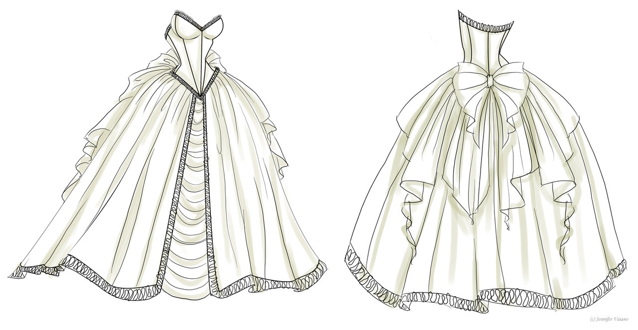Lady dresses with designs garment design home for How to draw a wedding dress